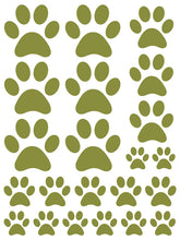 Load image into Gallery viewer, OLIVE GREEN PAW PRINT WALL DECALS