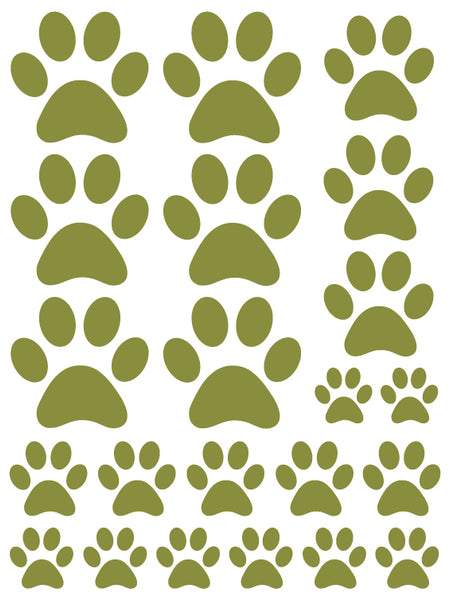OLIVE GREEN PAW PRINT WALL DECALS