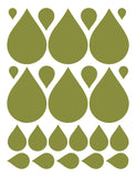 OLIVE GREEN RAINDROP WALL DECALS