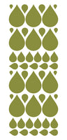 OLIVE GREEN RAINDROP WALL STICKERS