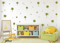 OLIVE GREEN PAINT SPLATTER WALL STICKER