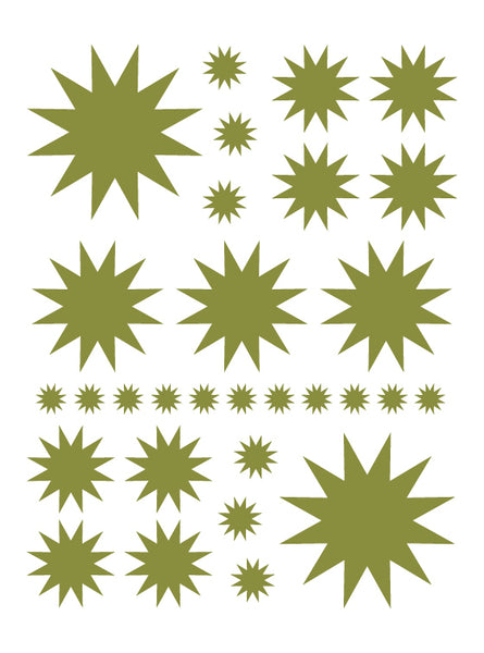 OLIVE GREEN STARBURST WALL DECALS