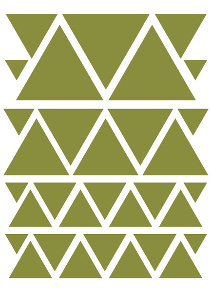 OLIVE GREEN TRIANGLE WALL DECALS