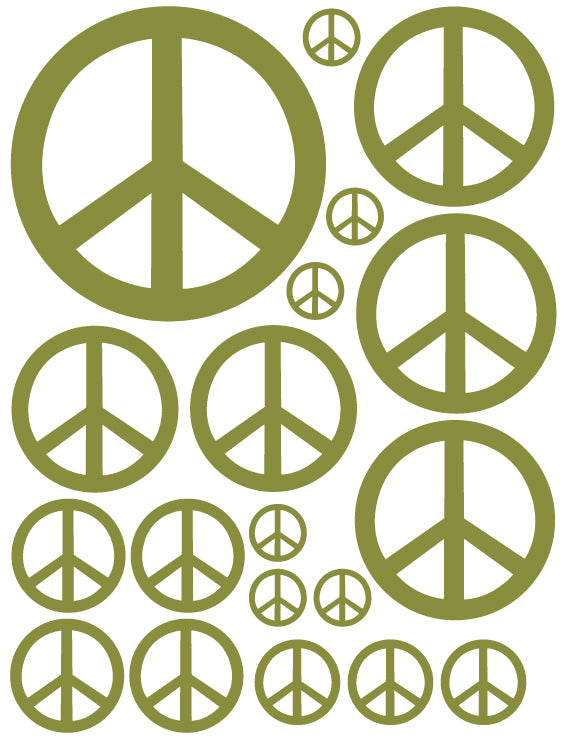 OLIVE GREEN PEACE SIGN WALL DECAL