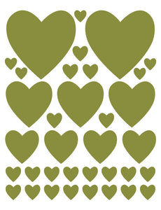 OLIVE GREEN HEART WALL DECALS