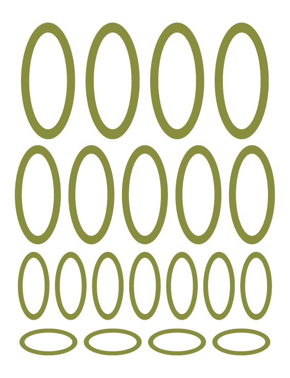 OLIVE GREEN OVAL WALL DECALS