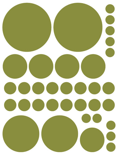 OLIVE GREEN POLKA DOT WALL DECALS