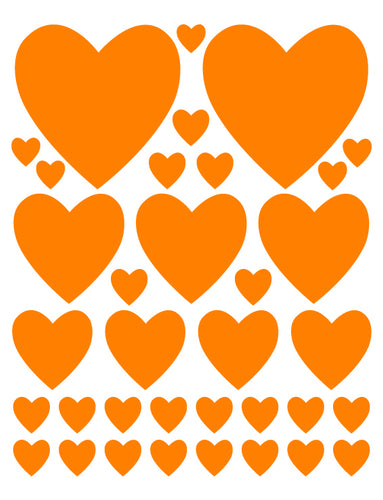 ORANGE HEART WALL DECALS