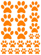 Load image into Gallery viewer, ORANGE PAW PRINT WALL DECALS