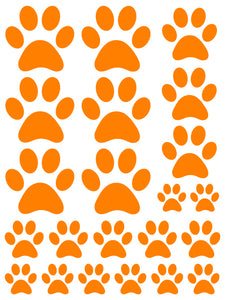 ORANGE PAW PRINT WALL DECALS