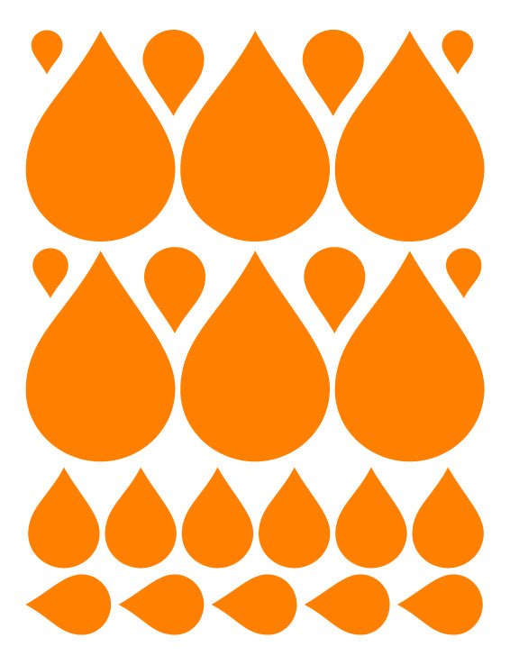 ORANGE RAINDROP WALL DECALS