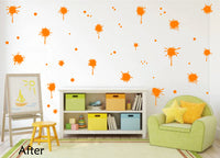 ORANGE PAINT SPLATTER WALL STICKER