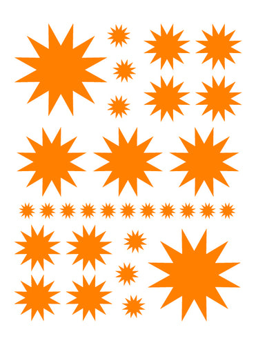 ORANGE STARBURST WALL DECALS