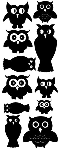 OWL WALL DECALS BLACK