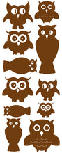Load image into Gallery viewer, OWL WALL DECALS BROWN