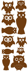 OWL WALL DECALS BROWN