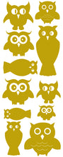 Load image into Gallery viewer, OWL WALL DECALS SATIN GOLD