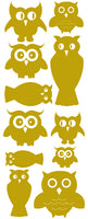 OWL WALL DECALS SATIN GOLD