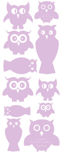OWL WALL DECALS LAVENDER