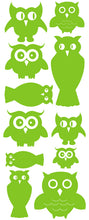 Load image into Gallery viewer, OWL WALL DECALS LIME GREEN