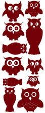 Load image into Gallery viewer, OWL WALL DECALS MAROON