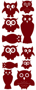 OWL WALL DECALS MAROON