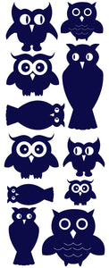 OWL WALL DECALS NAVY BLUE
