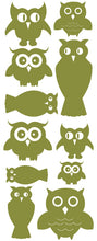 Load image into Gallery viewer, OWL WALL DECALS OLIVE GREEN