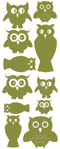 OWL WALL DECALS OLIVE GREEN