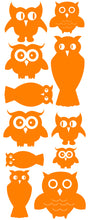 Load image into Gallery viewer, OWL WALL DECALS ORANGE