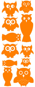 OWL WALL DECALS ORANGE