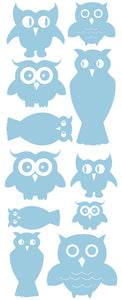 OWL WALL DECALS POWDER BLUE