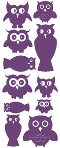 OWL WALL DECALS PURPLE