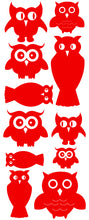 Load image into Gallery viewer, OWL WALL DECALS RED