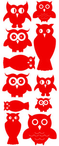 OWL WALL DECALS RED
