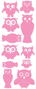 OWL WALL DECALS SOFT PINK