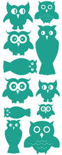 Load image into Gallery viewer, OWL WALL DECALS TURQUOISE
