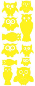 OWL WALL DECALS YELLOW