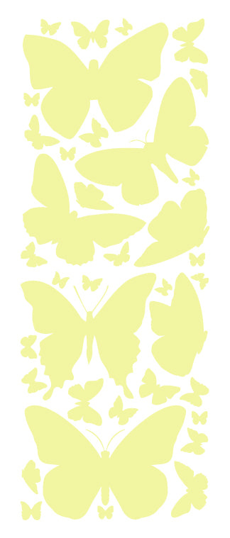 PALE YELLOW BUTTERFLY WALL DECALS