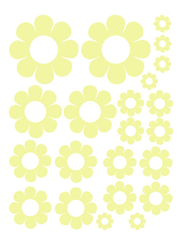 PALE YELLOW DAISY WALL DECALS