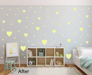 PALE YELLOW HEART STICKERS