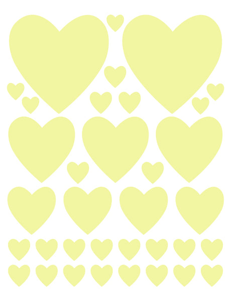 PALE YELLOW HEART WALL DECALS