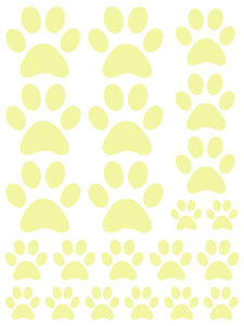 PALE YELLOW PAW PRINT WALL DECALS