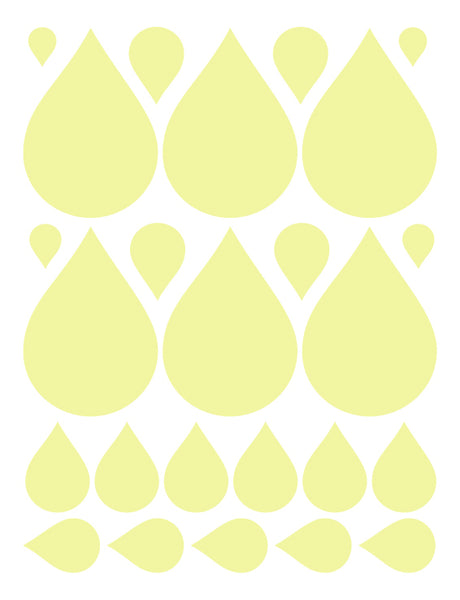 PALE YELLOW RAINDROP WALL DECALS