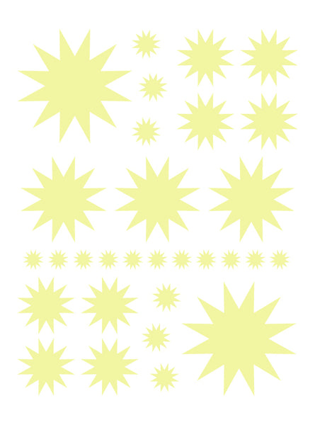 PALE YELLOW STARBURST WALL DECALS