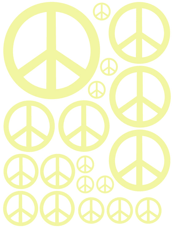 PALE YELLOW PEACE SIGN WALL DECAL