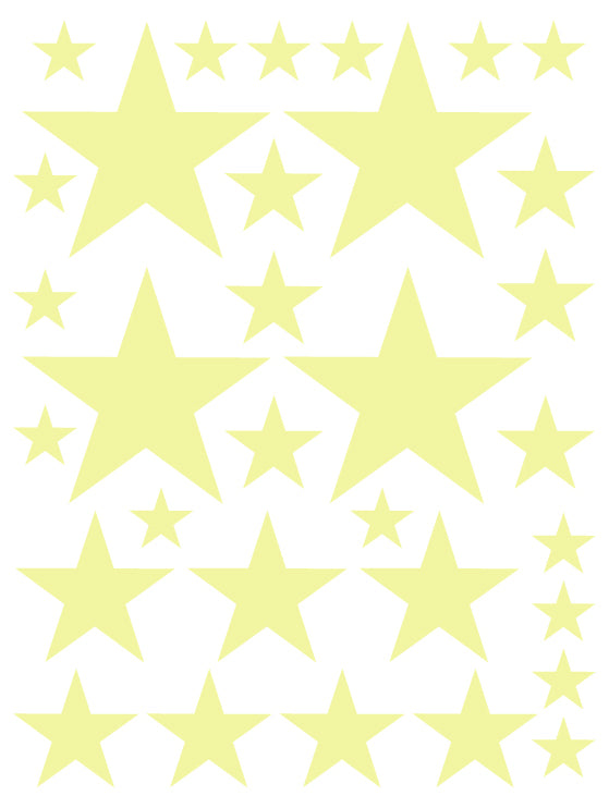 PALE YELLOW STAR WALL DECALS