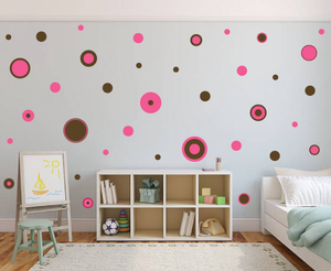 PINK AND BROWN WALL STICKERS