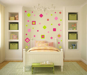 PINK GREEN SQUARE WALL STICKER