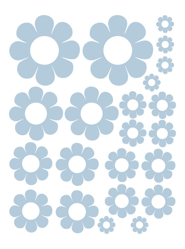 POWDER BLUE DAISY WALL DECALS